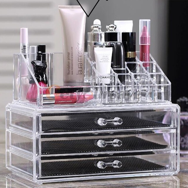 Makeup Cosmetics Jewelry Organizer Clear Acrylic 6 Drawers Display
