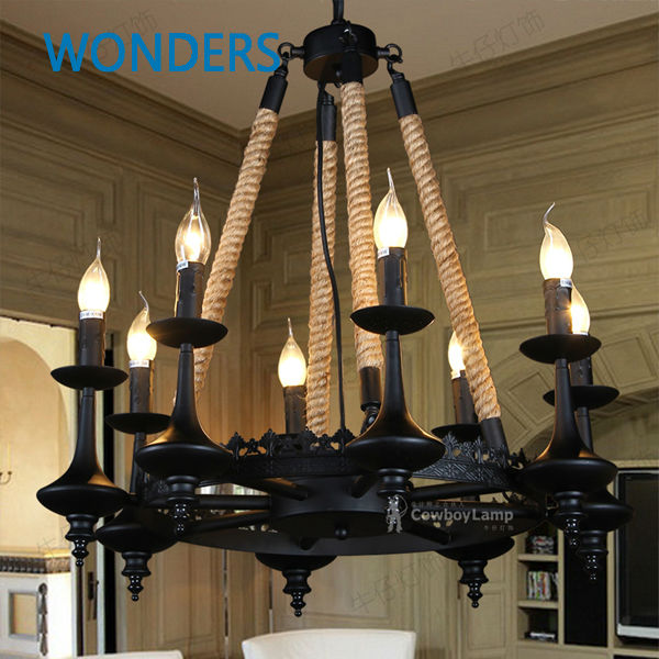 Loft Nordic Retro Creative Pastoral Clothing Store Cafe Hemp Rope Chandelier American Country  Black Meta 3/6/8 Heads Decoration