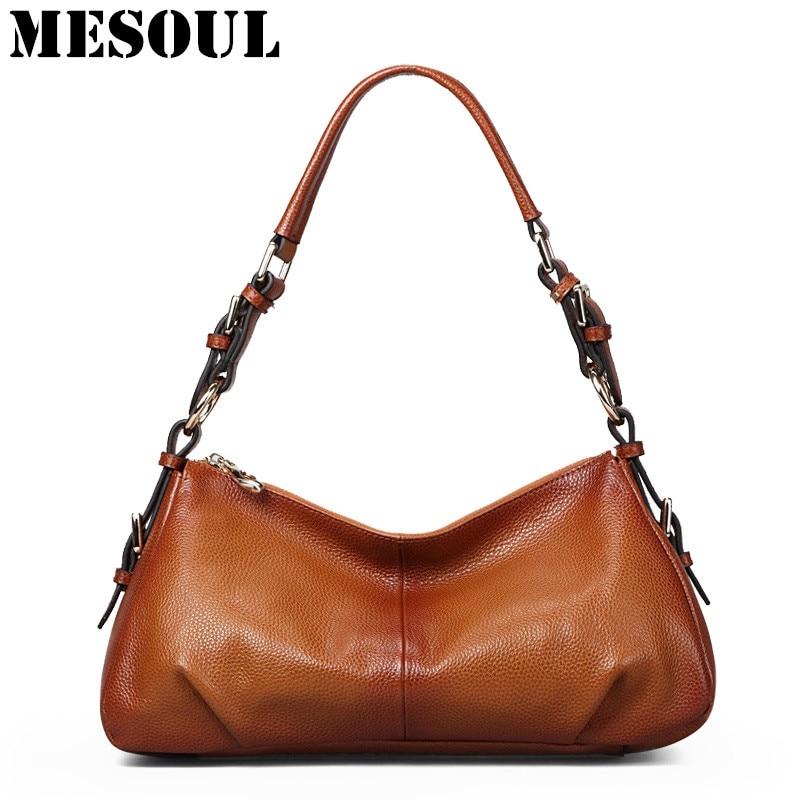 Women Genuine Leather Handbag Brown Ladies Shoulder Bags High Quallity Female Tote Purses Handbags Designer Brand