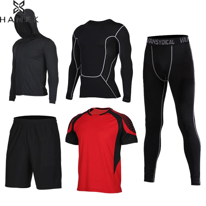 Hommes De Compression de Sport Costumes 5 pcs/ensemble Fitness Course Jeux de Basket-Ball Survêtement Vêtements À Séchage Rapide Gym Entraînement de Jogging Sportwear