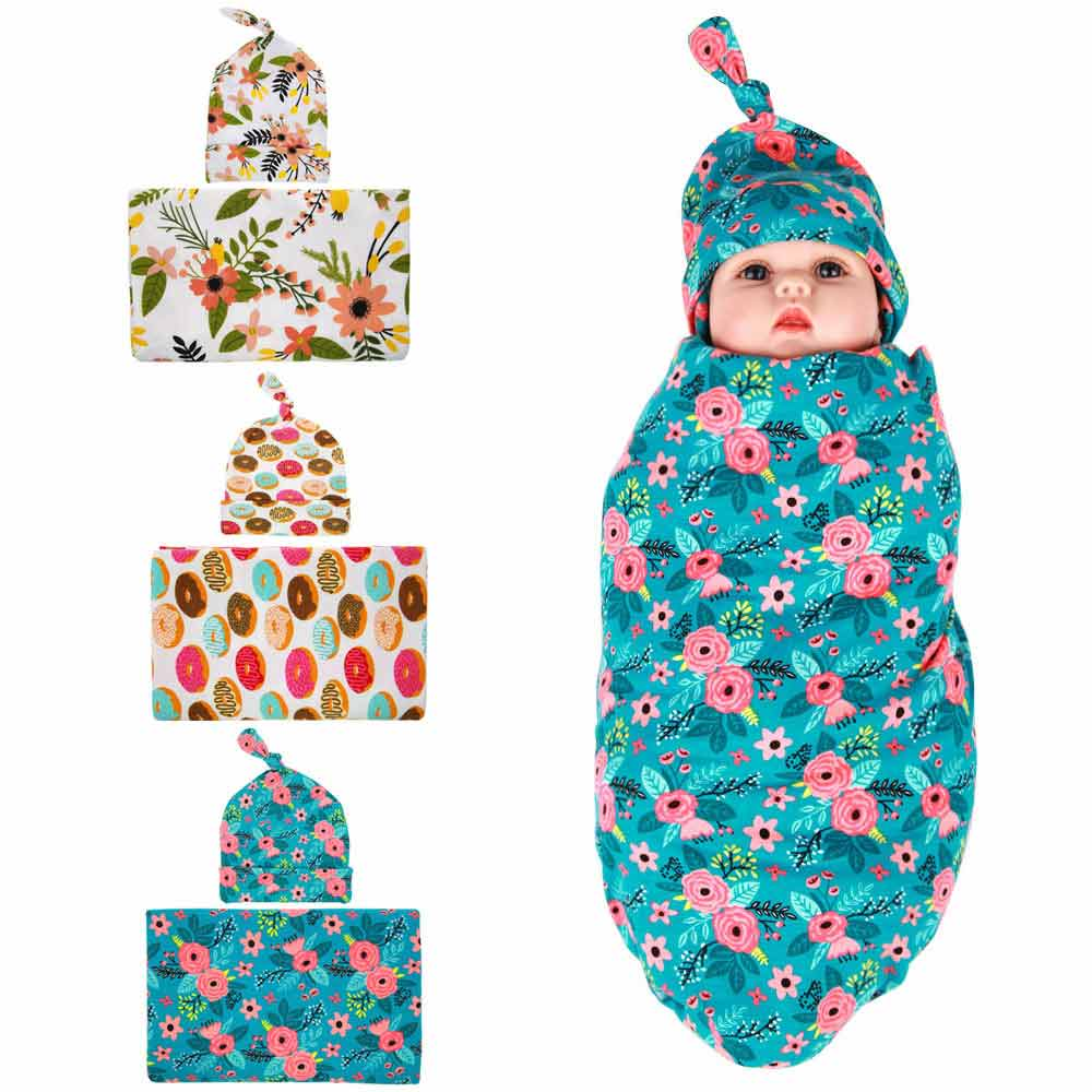 Cotton Baby Swaddle+Hat Set Flower Donuts Pattern Wrap Infant Newborn Receiving Blanket Bed Sheets Bath Towel 90*90cm