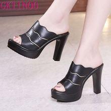 GKTINOO chaussures en cuir à bout ouvert, sandales dété pour femmes, à talons hauts, sandales de bureau, blanches, grande taille, collection 2020