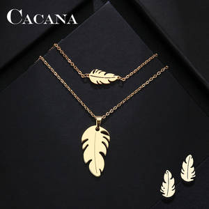 CACANA Bracelet Earring Necklace Jewelry Stainless-Steel-Sets Women Lover's for Feather-Shape