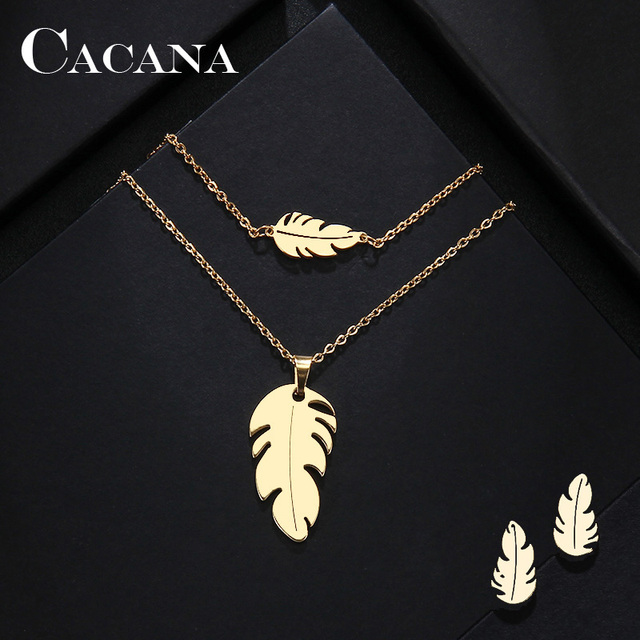 CACANA Stainless Steel Sets For Women Feather Shape Necklace Bracelet Earring Je