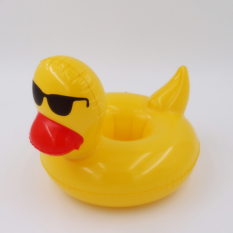 Inflatable yellow duck drink floats Pool Float Inflatable yellow duck cup holder Pool Party drink floats cup holder swimming Toy