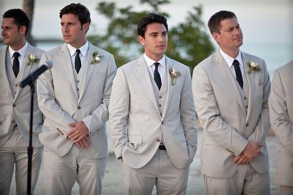 2017 последние конструкции пальто брюки серый Нарядные Костюмы для свадьбы для Для мужчин простой смокинг женихов Для мужчин пляжные пиджак