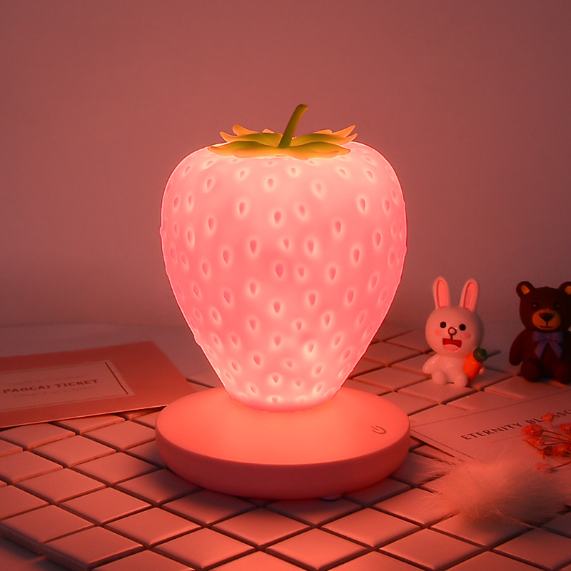 Led energy-saving lamp children with sleeping night light fun strawberry shape USB charging silicone lamp touch switch luminaria