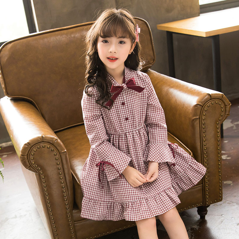 Girl's Long-sleeved Dress New Baby Princess Dress Autumn 2018 Children Plaid Dress Cotton Toddler Tops Bow Kids Dress,#3350 plaid long sleeve belted midi dress