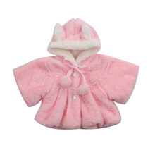 Cute Winter Coat For Girls Newborn Kids Baby Girl Fur Long Sleeve 3D Ear Hooded Coat Cloak Jacket Snowsuit Outerwear Clothes(China)