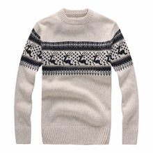 New 2017 Autumn Winter Fashion Brand Clothing Men's Sweaters with Deer Slim Fit Men Pullover Knitted Sweater(China)