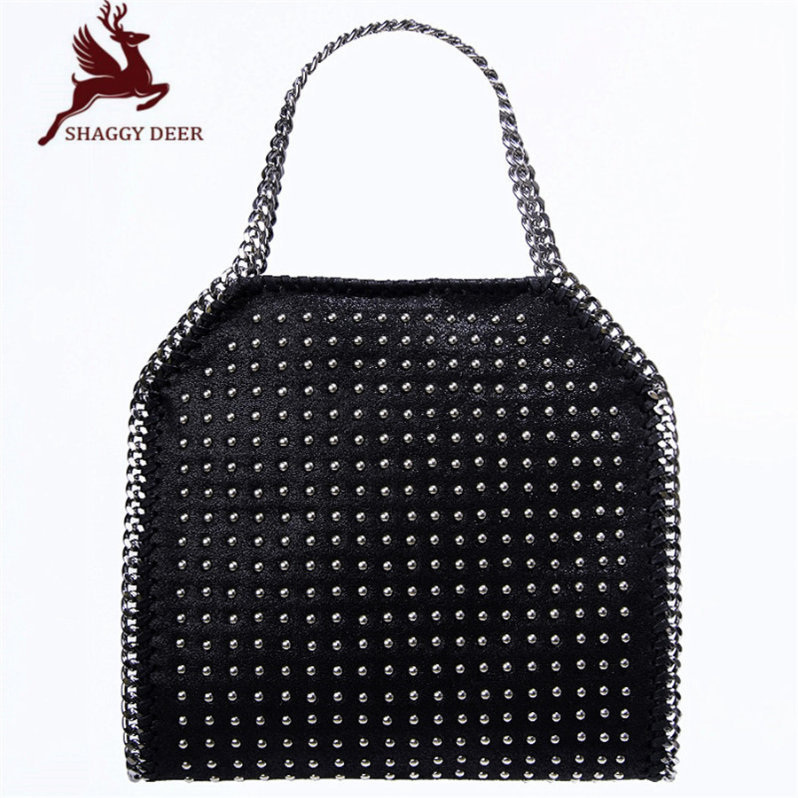 Factory Top Quality Shaggy Deer Dots Rivets PVC Chain Stella Handmade Sewing Luxury lady Chain Handbag Crossbody Shoulder Bag mini gray shaggy deer pvc quilted chain bag with cover real picture