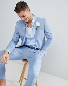 Tailor Made Light Blue Men Suits Slim Fit Groom Prom Dress Blazer Casual Beach Summer Style 2 Piece Male Tuxedo Jacket+Pant