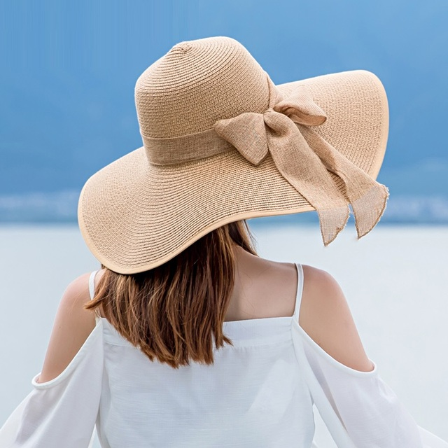 dd3d1077 Lady New Wide Brim Sun Cap Female Fashion Outside Sun Hat Women Vintage X Large  Brim Boater Hat Wheat Straw Beach Hat B-7989