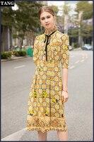Высокое качество дизайнер женское платье Весна 2019 летний галстук бабочка короткий рукав геометрическим принтом Шелковый плед Повседневны