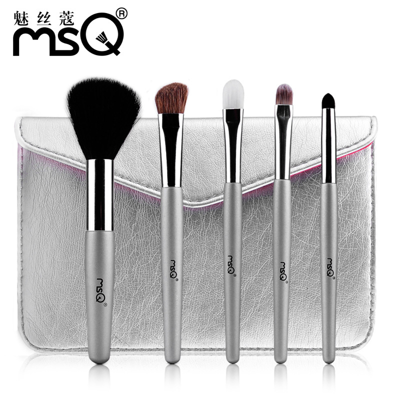 5Pcs Makeup Brushes Cosmetic Tool Kits Professional Eyeshadow Powder Eyeliner Contour Brush Set with Case bag pincel maquiagem beauty golden black professional 4 pcs set salon party home use eyeshadow makeup brush cosmetic tool brushes with case