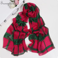 Плед шелковые платки Популярные Хиджабы 100% Натурального Шелка Париже Шарф мода Роскошные Красная Роза Кружева Дизайн Розовые Шарфы китай для женщины
