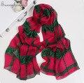 Hijabs mantones de seda a cuadros Populares 100% Paris Bufanda De Seda Natural Diseño de Lujo de la moda Rosa de Encaje Rojo Rosa Bufandas de china para mujeres
