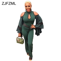 Long Flare Sleeve Sexy Bodycon Jumpsuit Women Off The Shoulder Hollow Long Romper Autumn Green Lace Patchwork Party Body Mujer