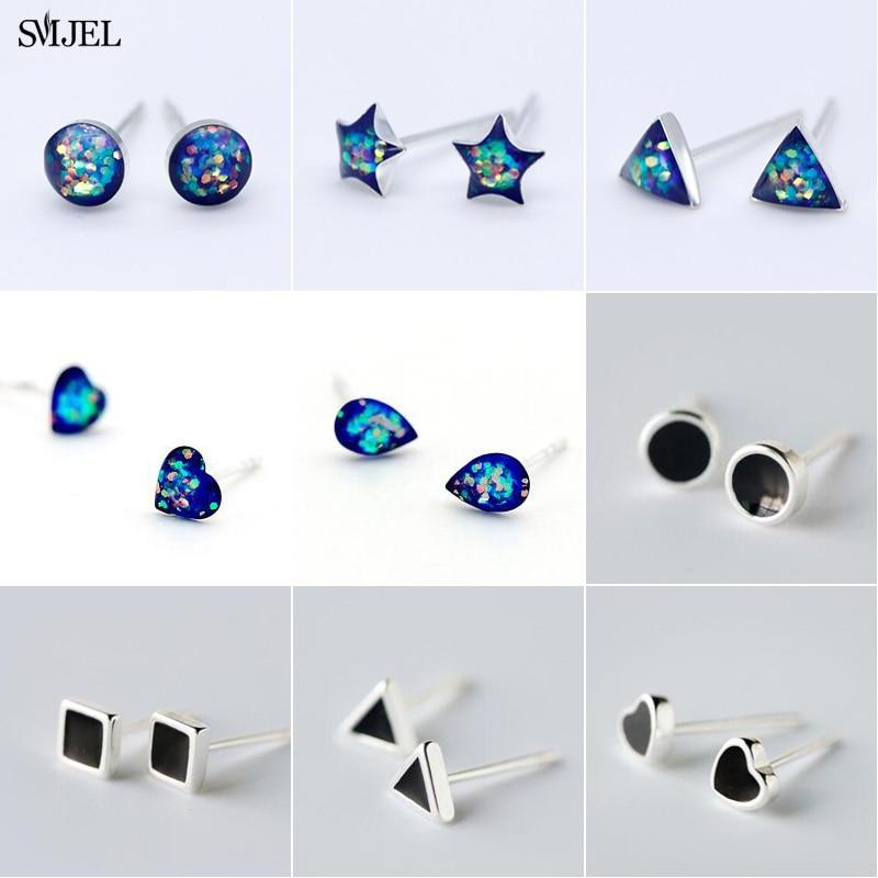 SMJEL Black Blue Geometric Stud Earrings For Women Cute Lovely Heart Circle Triangle Statement Earring Korean Jewelry brincos