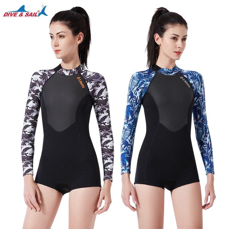 DIVE SAIL 2019 1 5MM Neoprene Wetsuit Women Warm Wetsuit Long Sleeves Bikini Wet Suit for