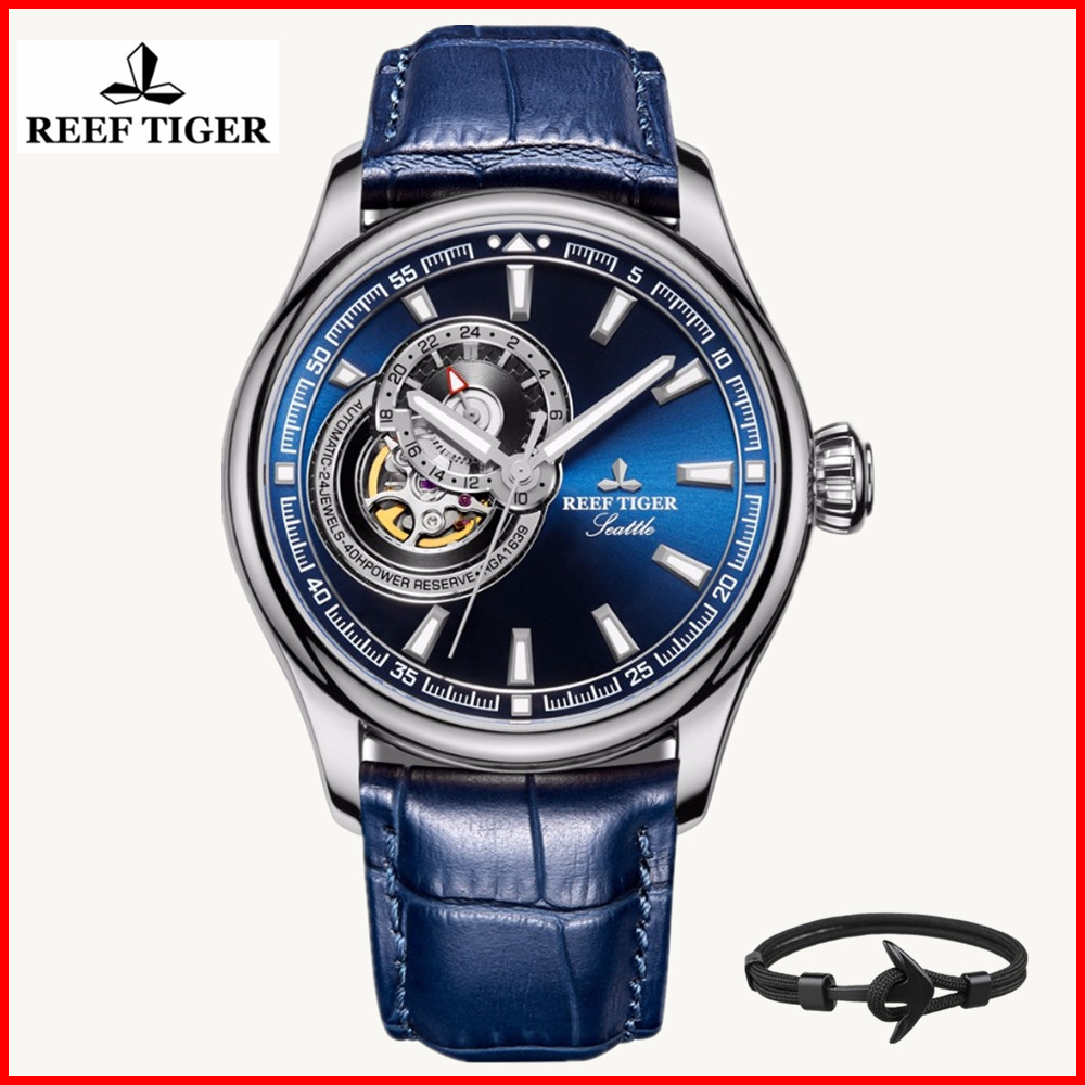 2019 Reef Tiger/RT Luxury Brand Causal Watch Men Sport Genuine Leather Tourbillon Quartz Analog Fashion Waterproof Wrist Watches