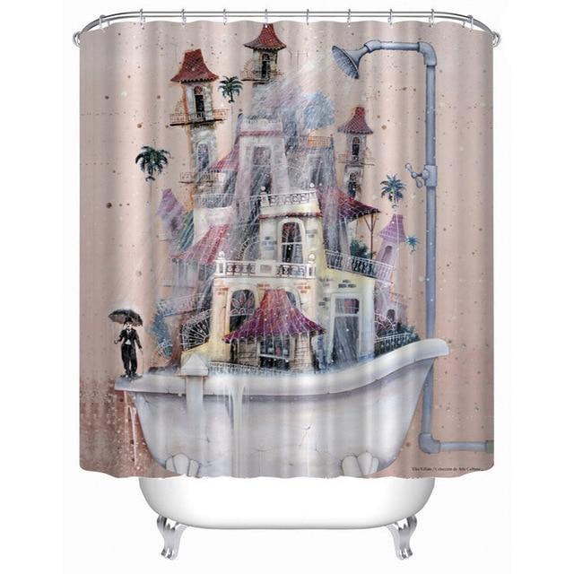 Funny Bathtub Art Design Print Fabric Bathroom Shower Curtain Polyester  Waterproof Bathroom 150x180,180x180,