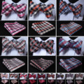 New Check Floral Striped Men Woven Silk Wedding Self Bowtie handkerchief Set #H6 Pocket Square Classic Party Wedding