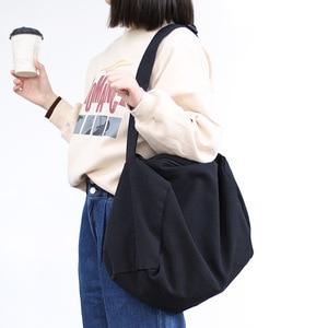 Image 2 - 女性のキャンバスのショルダーバッグ綿の布クロスボディバッグ固体ジッパーハンドバッグショッピングバッグトートバッグ学生エコシンプルなブックバッグ