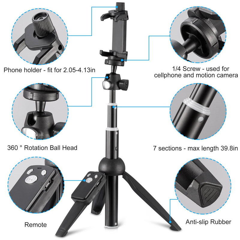 Monopods photo Bluetooth Camera Remote Shutter Selfie Tripod Clip Mount Phone Holder For iPhone X 8