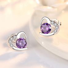 New Small White Purple Crystal Earrings for Girls Children Lovely Heart Shaped Mosaic CZ Zircon Party Birthday Jewelry