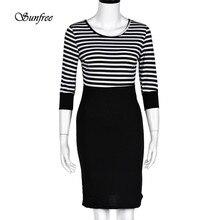 Sunfree 2017 Heißer Verkauf Frauen Dame Schlank Striped Bodycon Party Cocktail Clubwear Bleistift Kleid Nagelneue qualität Dezember 13