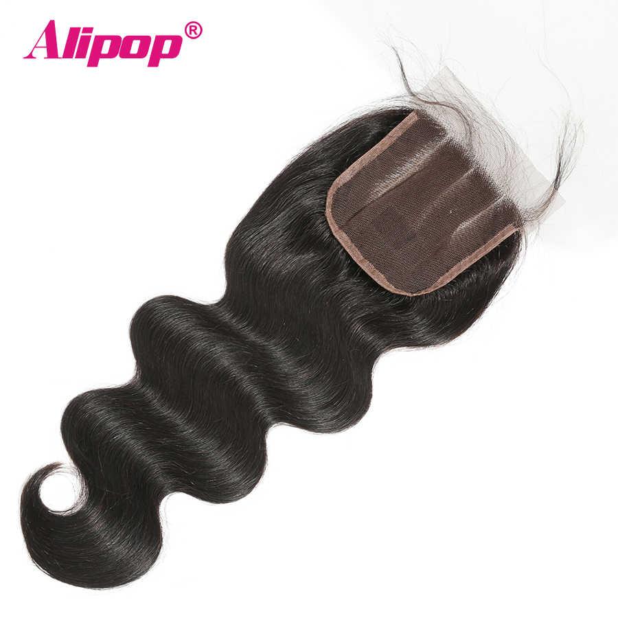 Бразильские волосы с закрытием волнистые человеческие волосы 4x4 Топ швейцарские кружева предварительно сорванные с волосами младенца Remy натуральный черный ALIPOP