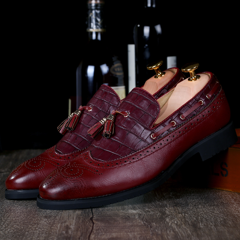 En Gland D'affaires De Black Male K3 Robe Cuir Plat Confort Chaussures Hommes Marque Mariage Rétro Luxe brown red Casual Parti Mocassins fpgwgYxtq