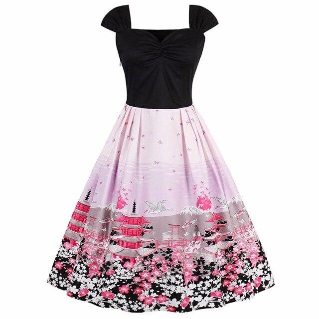 Audrey Hepburn Style Print Patchwork V Neck Cap Sleeve Swing Cotton Dress  Women Rockabilly Evening Party 50s 60s Dresses dec378e4b713