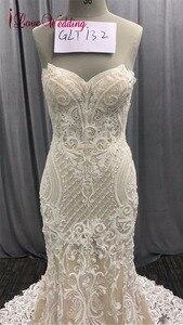 Image 3 - 2020 אופנה חדשה בת ים אפליקציות חתונת שמלה ארוך רכבת ואגלי כלה שמלת robe דה mariee תחרה שרוולים שמלת כלה
