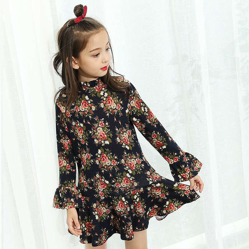 New Cute Girls Long Sleeve Dress Autumn/Spring Kids Fashion Cotton Floral Dresses Girl Clothes 4-14 Years Old 2 10yrs girls dress kids princess dress long sleeve baby girl cute palace style blue and white floral embroidery spring 2017 new
