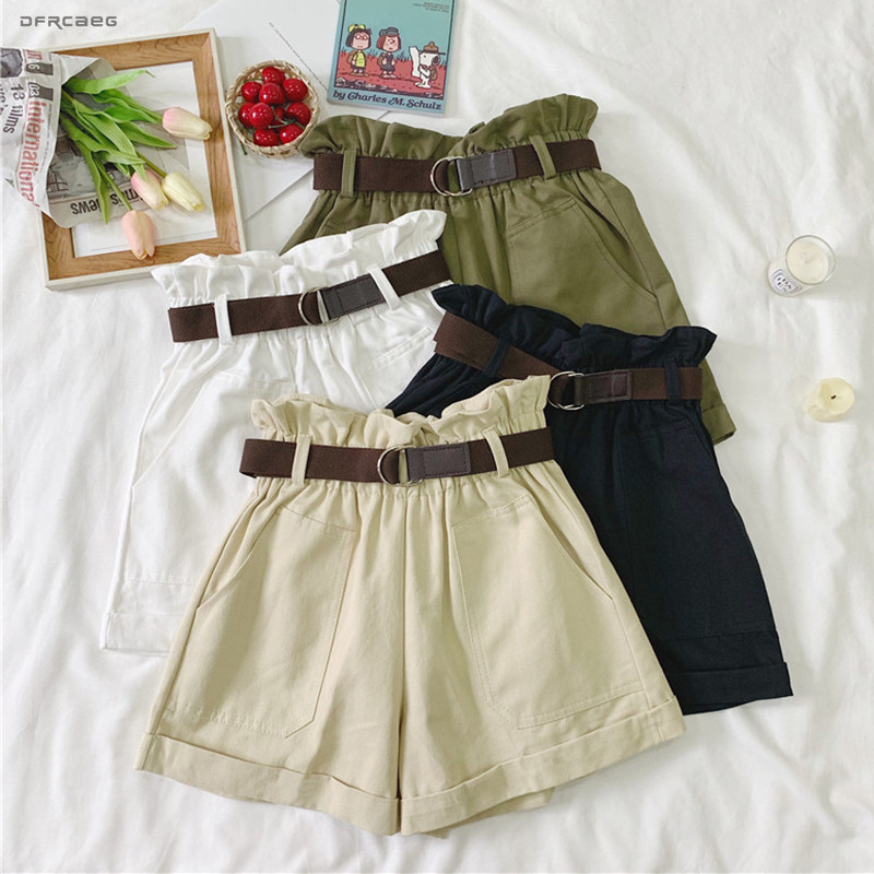 4 Colors Elastic Waist Summer Women   Shorts   With Belt 2019 Fashion High Waist Casual Work   Short   Trousers Femme Army Green