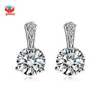 YHAMNI Fashion 925 Sterling Silver 6mm 1 Carat CZ Diamant Stud Earrings Jewelry For Women YE008