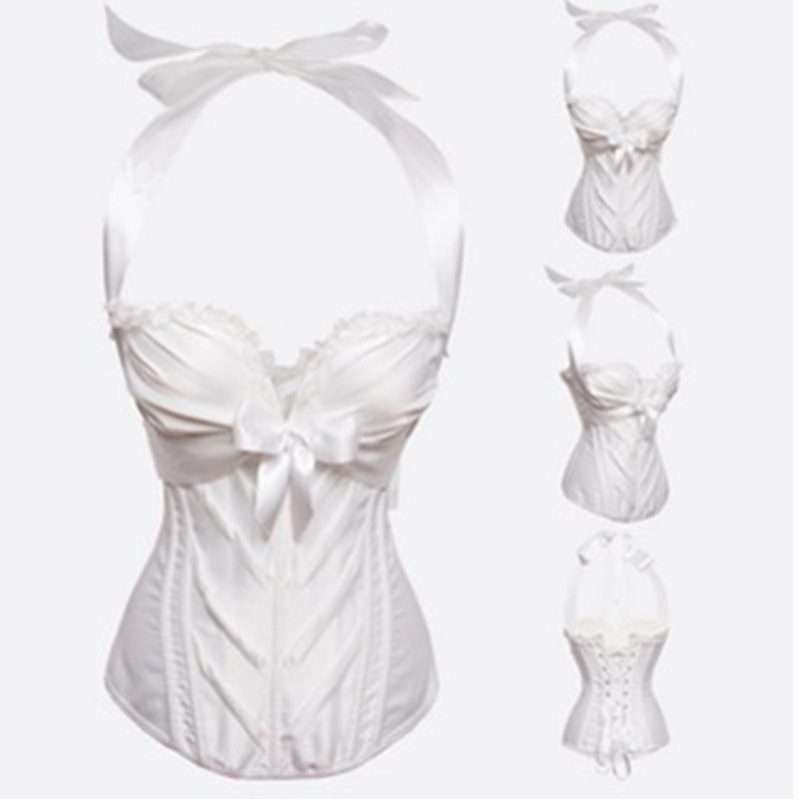Sexy Women Black Bowknots straps lace Boned   Bustier     Corset   Basque Women Girl White Wedding Overbust Tops