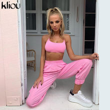 Kliou women pink two pieces set 2019 new arrival short strap camisole crop top elastic high waist cargo pants casual outfit set(China)