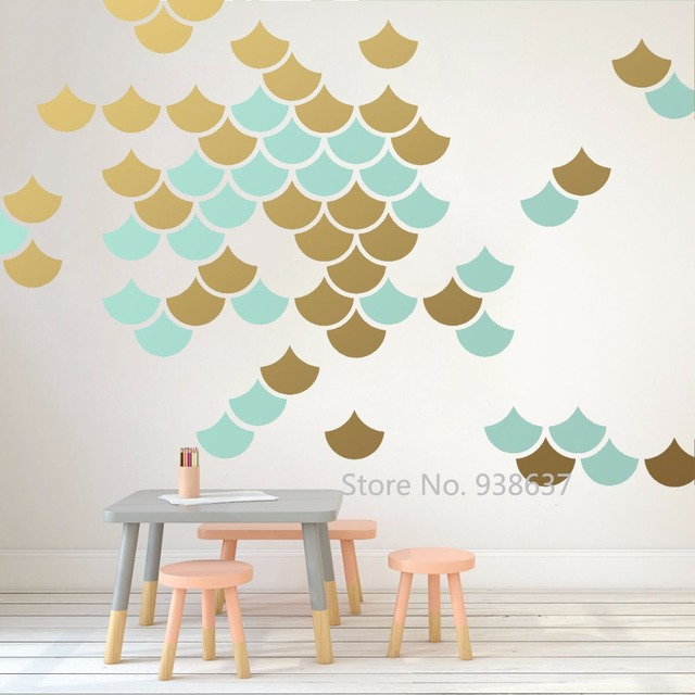 mermaid scale wall stickers home decor living room geometric decals