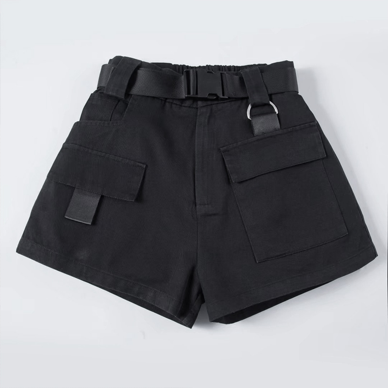 High Waist Wide Leg Cargo Women s Shorts Vintage Sashes Solid Khaki Pocket Women Shorts 2020