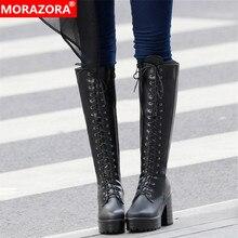 Morazora 2020 Nieuwste Knie Hoge Laarzen Vrouwen Lace Up Zip Hoge Hakken Platform Laarzen Herfst Winter Punk Schoenen Dames Big maat 43