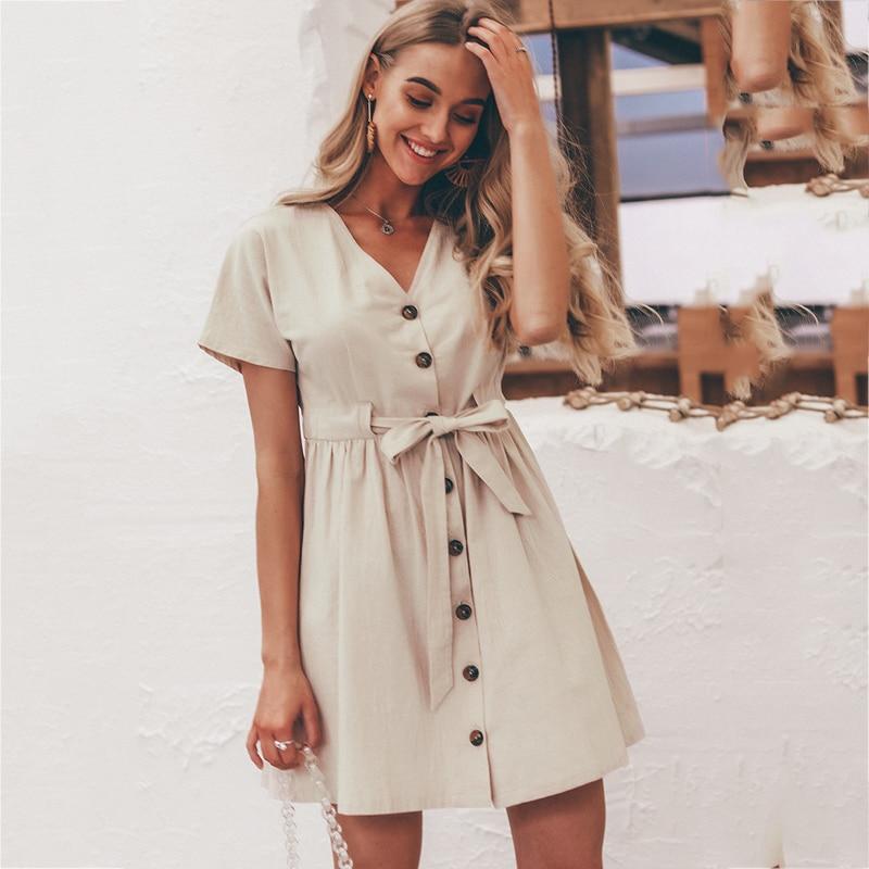 Women's Shirt V-neck Cotton And Linen Short Summer Cardigan Short-sleeved Lace Dresses