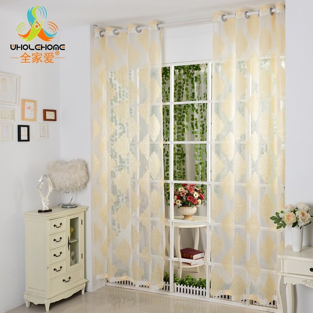 Fenster Vorhang Gelb Blumen Luxus Gedruckt Tüll Stoff Für Vorhänge  Dekoration Wohnzimmer Gardinen 1 Teile/