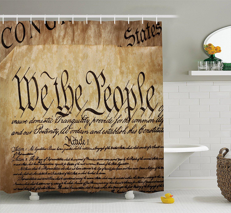 Соединенные Штаты душ Шторы Винтаж Конституции текст ткань Ванная комната Декор комплект с крючками