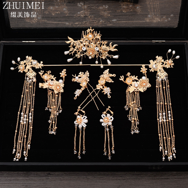 2019 new Chinese tassel hairpins bridal headgear Chinese style hair set ancient style hair jewelry wedding hair ornaments2019 new Chinese tassel hairpins bridal headgear Chinese style hair set ancient style hair jewelry wedding hair ornaments