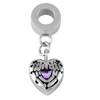 IJA0005 Vintage design Stainless steel Purple Crystal Heart Wings memorial urn jewelry Accessories keepsake ashes pendant