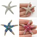 High Quality Stunning Diamante Big Starfish Brooch Pins Lady Party Bouquet Pin Women Fashion Big Star Broach Gold Tone Star Pin