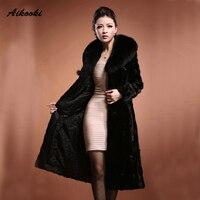 Aikooki ארוך פרווה נשים הלבשה עליונה החורף חם נשים יוקרה גבוה סוף עיצוב פו פרווה שיער מינק מעיל עבה חם שרוול ארוך בגדים